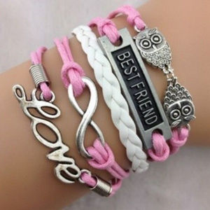 """Best Friend Charm Bracelet """"LOVE"""" pink and white"""